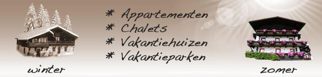 Appartementen, chalets , vakantieparken en vakanteihuizen
