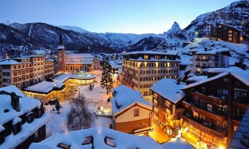 Wintersport in Zermatt, Zwitserland