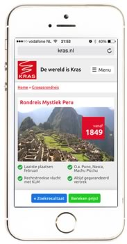 Kras mobiele website